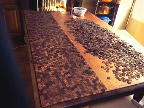 resurface table top ideas comedian renfroe gluing pennies to resurface table