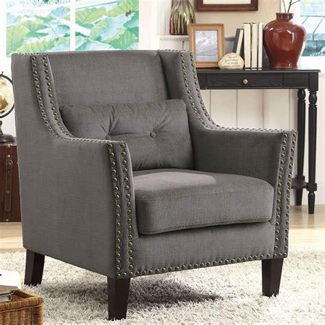 grey accent chair  nailhead trim  pillow coaster furniture furniture cart