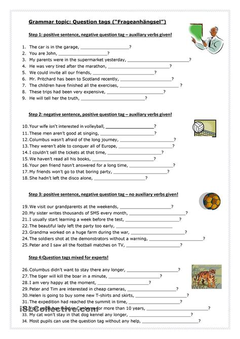 printable question tags exercise tag questions worksheets for grade 2 worksheet exle