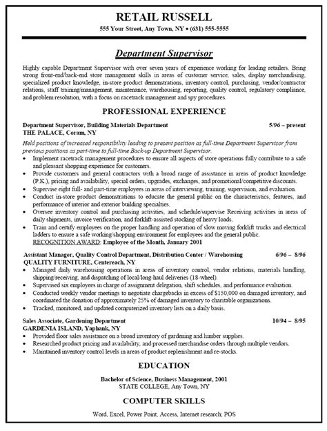 Resume Sles For Retail by Sle Resume For Retail Sales Department Supervisor Recentresumes