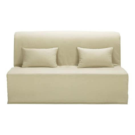 beige sofa cover cotton z bed sofa cover in beige elliot maisons du monde