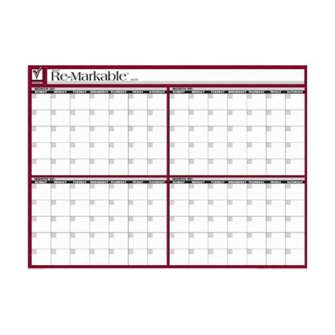 four month calendar template 4 month re markable tri point products