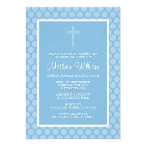 blue polka dot cross boy baptism christening invitation card