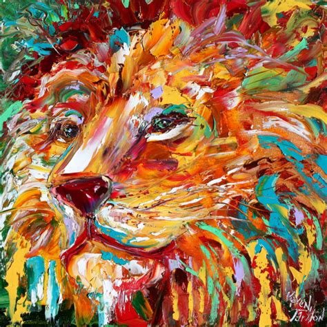 painting impressionism modern large original abstract impressionism animal portrait painting original
