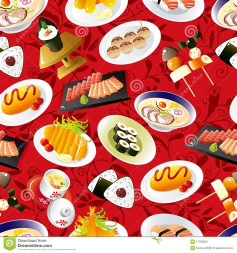 Meal Pattern Of Japanese Cuisine | seamless japanese food pattern stock vector image 17785022