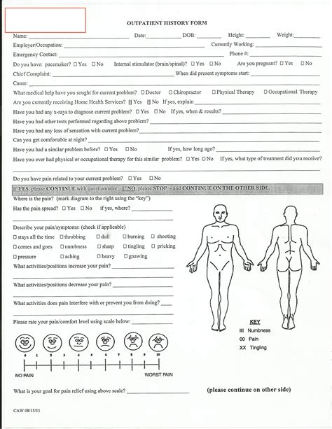 medical history and physical form pictures to pin on