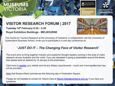 Of Canberra Mba Requirement by Visitor Research Forum 2017 Draft Program And