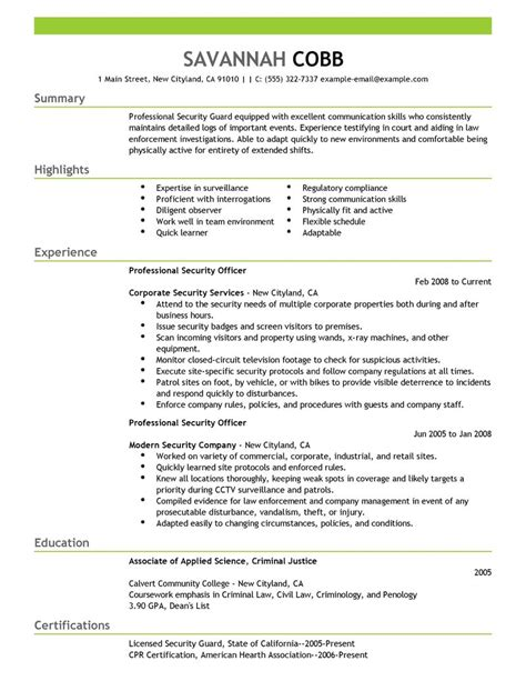 security officer resume format security officer resume exles and sles professional
