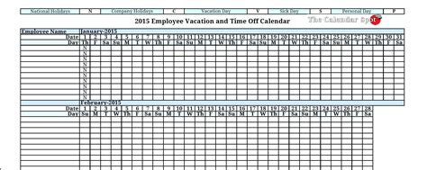 Template Employee Vacation Planner Template Employee Vacation Planner Template Excel