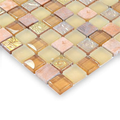 Copper Tile Backsplash For Kitchen Glass Stone Mosaic Tiles Yellow Glass Mix Stone Mosaic