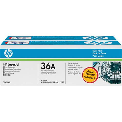 Hp Toner 36a hp 36a black laserjet toner cartridges dual pack cb436d b h