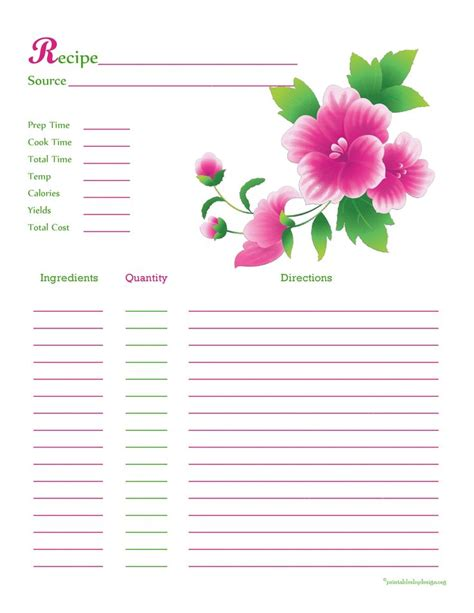 Template For Hallmark Recipe Cards by Pink Green Flower Recipe Card Page Recipe Cards