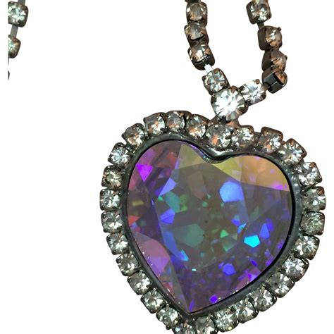 Rhinestone Pendent Necklace large faceted rhinestone necklace with pendant from