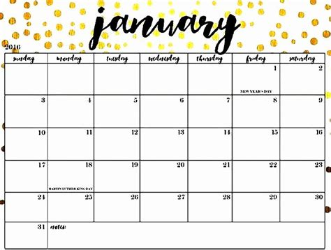 cute january  calendar floral design