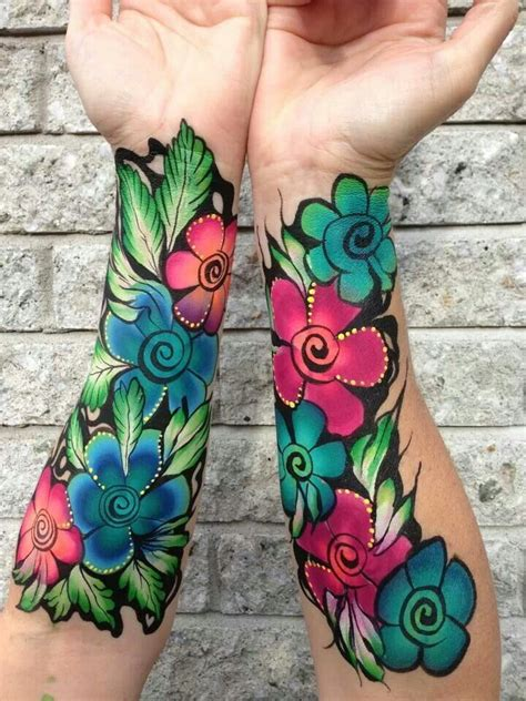 colorful flower tattoos 323 best facepainting ideas images on