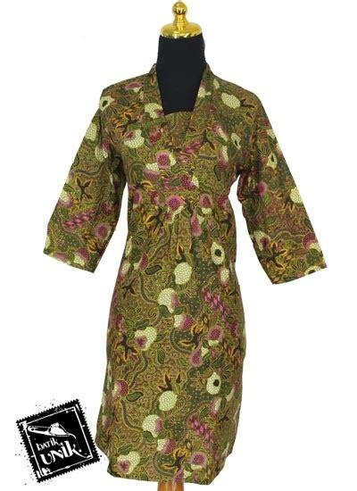 Baju Batik Dress Terusan Wanita Motif Daun Katun Cap Malam Etnik sarimbit dress katun motif daun tipak dress murah