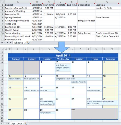 make a schedule template create a calendar from excel data