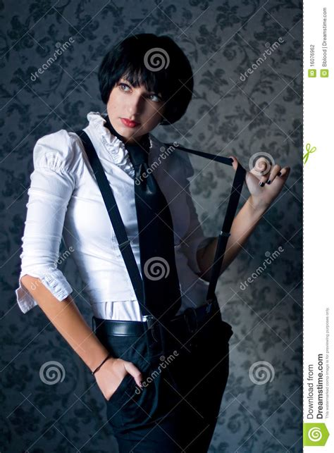 gangster girl stock photo image  weapon necktie