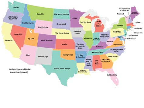 map usa states forms if each state were represented by a tv show via geekologie