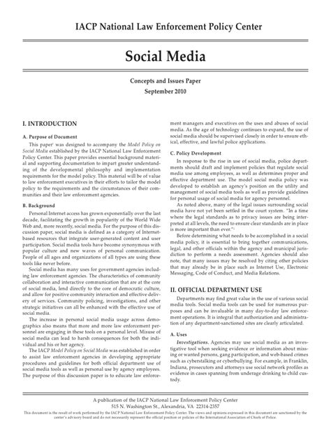 Social Media Paper Social Media Policy Template For Enforcement