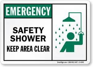 emergency shower sign safety shower keep area clear emergency sign sku s 4245