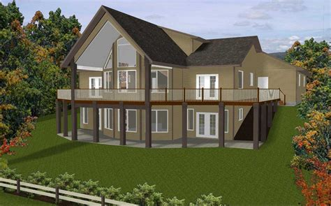 colonial style hillside home plans with view