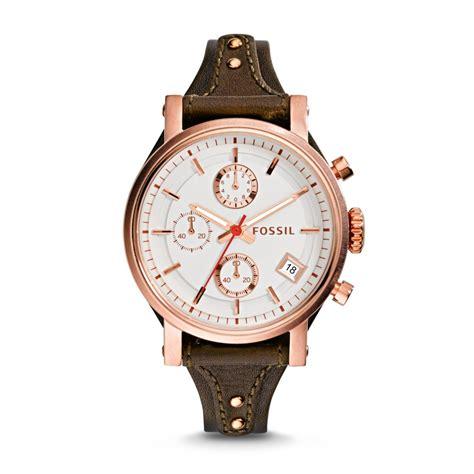 montre fossil boyfriend es3616 en cuir marron pour