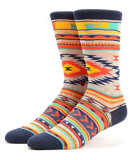 native pattern socks stance tribute native print crew socks