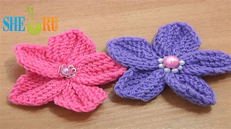 how to knit a flower sheruknitting beautiful five petal flower to knit tutorial 10