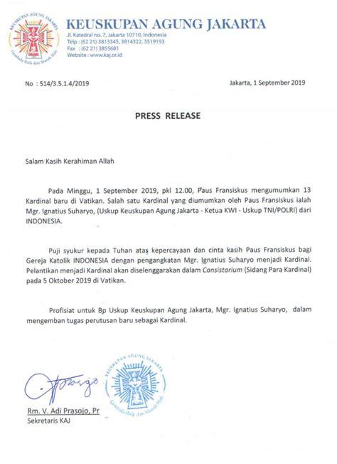 surat resmi uskup suharyo diangkat jadi kardinal oleh