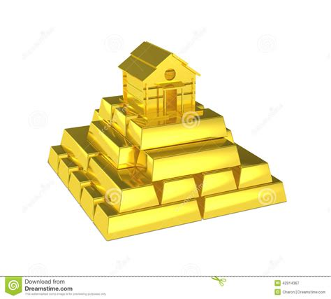 gold pyramid house at the top stock illustration image