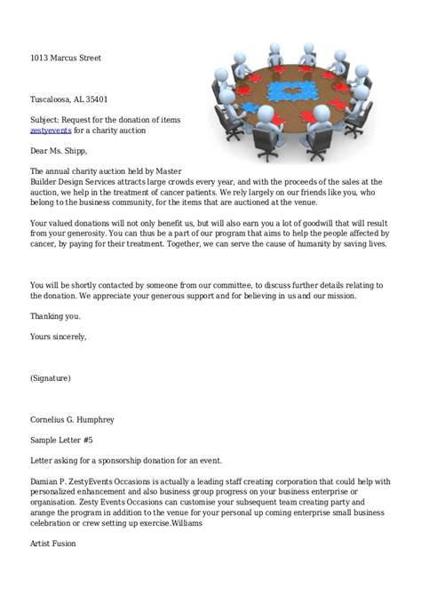 charity letter for venue sle letters asking for donations