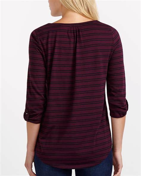 Striped Sleeve Henley T Shirt 3 4 sleeve striped henley t shirt reitmans