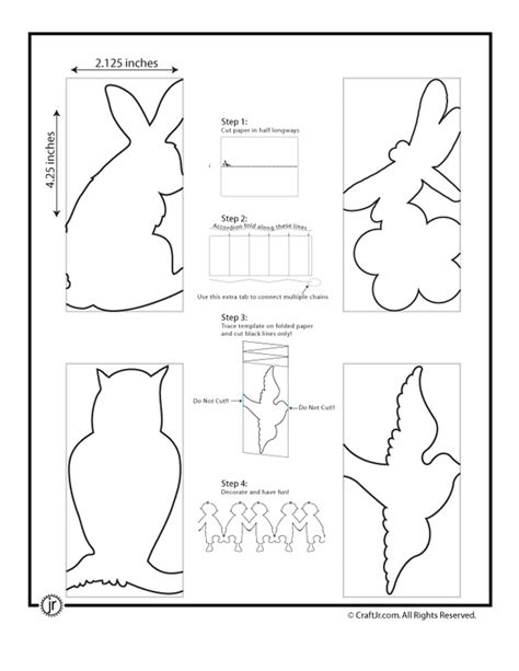 paper doll chain template paper chain template bunny bird s