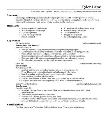 lawn care resume sle best landscaping resume exle livecareer