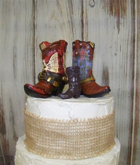 Cowboy Boots Cake Decorations by Reserved For Candice Rustic Cake Topper His And