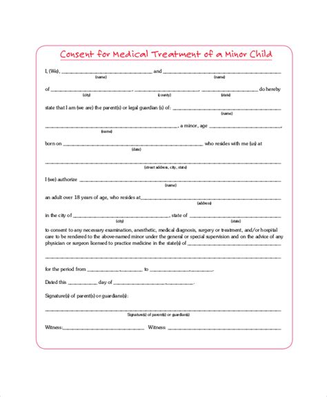 free printable child medical release