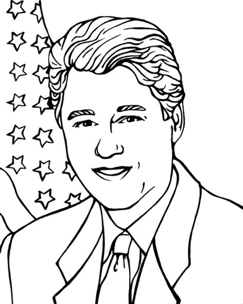 president bill clinton coloring page coloring book