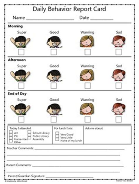 Daily/Weekly Behavior Report Card {Freebie} by Traci