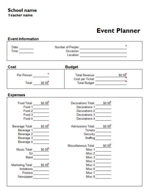 event templates for word event schedule planner template calendar template 2016