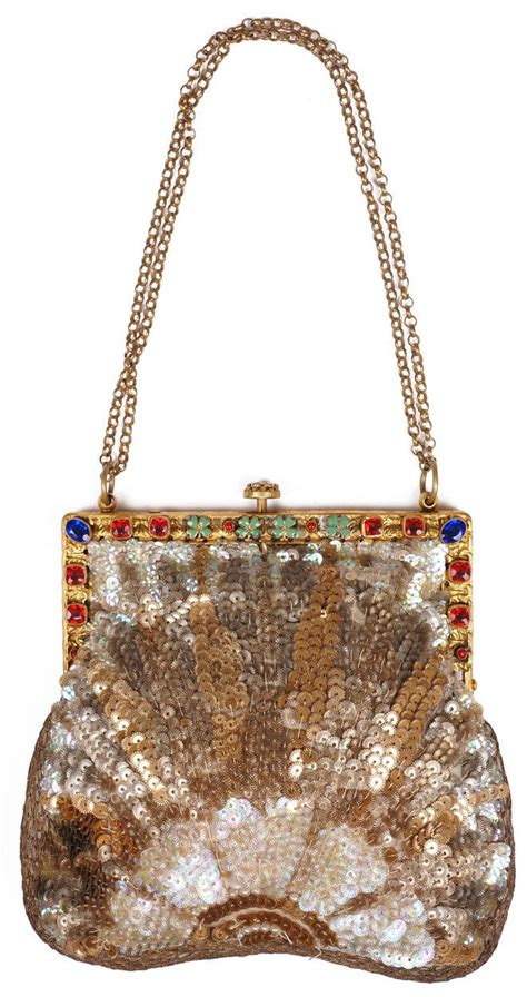 Couture Vanderbilt Purse by Deco Sequined Purse With Jewelled Frame 1920s Evening
