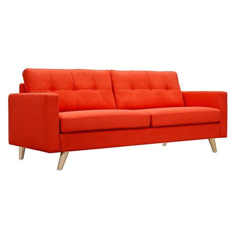 Modern Orange Sofa by Uma Mid Century Modern Orange Fabric Button Tufted Sofa W