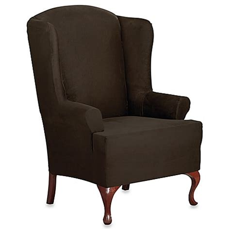 sure fit wing chair slipcover buy sure fit 174 designer suede wing chair slipcover in