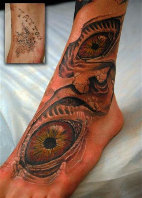 tattoo eye cover up foot eye cover up tattoo by mai tattoo