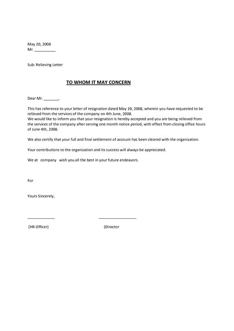 relieving letter format in ms word relieving letter format in ms word best of exle
