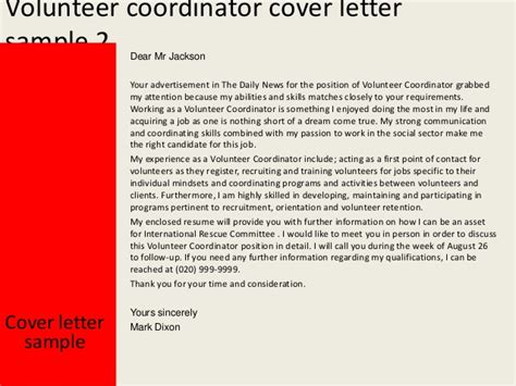 Motivation Letter For Volunteer Volunteer Coordinator Cover Letter