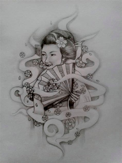smoke tattoo design geisha and smoke design by angelofpandemonium on