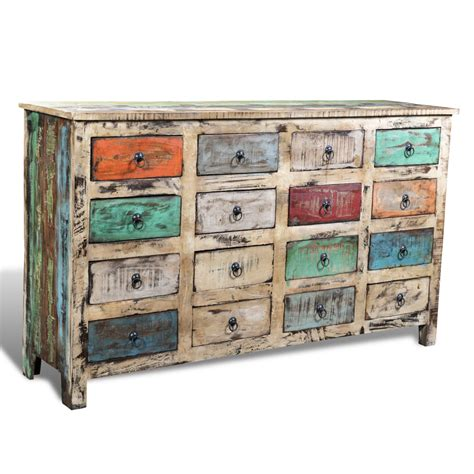 Wood Storage Cabinet With Drawers by Vidaxl Co Uk Reclaimed Wood Cabinet Storage With 16