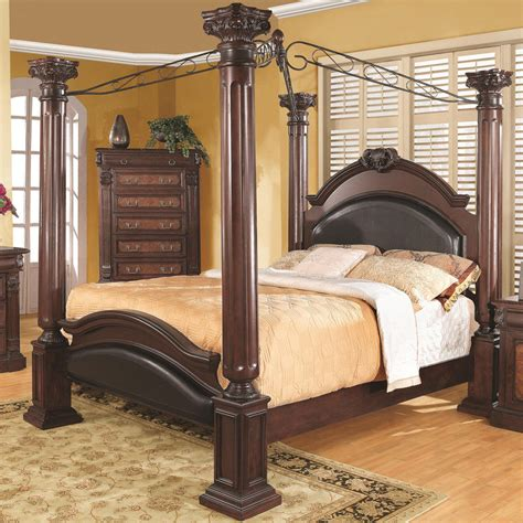 bed with posts new prado formal traditional cherry finish wood four post