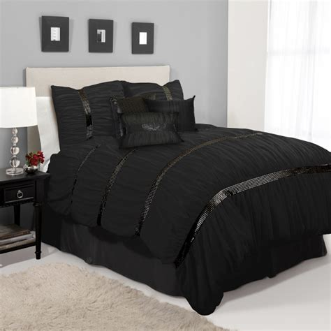 pc black applique sequin ruched comforter set queen ebay
